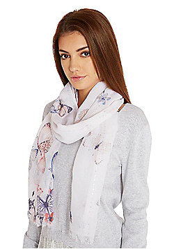F&F Sequinned Butterfly Print Frayed Ends Scarf - Multi