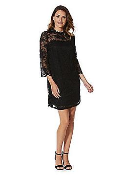 F&F High Neck Lace Swing Dress - Black