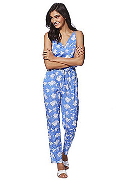 Mela London Palm Tree Print Jumpsuit - Blue