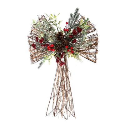 Homescapes Artificial Christmas Flower Bow Arrangement with Pine Cones and Berries