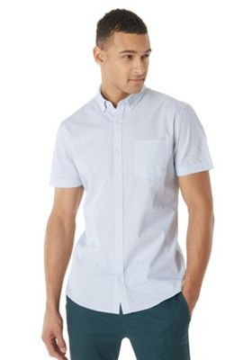 F&F Button-Down Collar Geometric Print Short Sleeve Shirt White 4XL