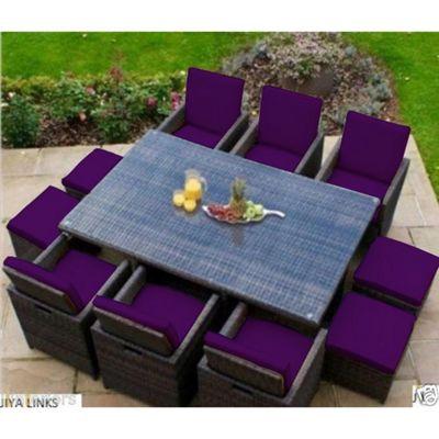 Gardenista 16 Piece Seat Pad Set for Rattan Patio Furniture Set- Purple