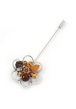 Handmade Semiprecious Stone Floral Lapel, Hat, Suit, Tuxedo, Collar, Scarf, Coat Stick Brooch Pin In Silver Tone Metal - 90mm L