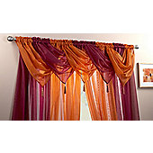 """Plain Voile Swags With Tassel - 20x18"""" - Brown"""