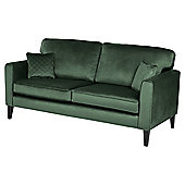 Fox & Ivy Dexter Velvet Large 3 Seater Sofa, Dark Green