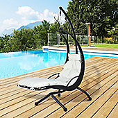 Outsunny Rattan Swing Chair Helicopter Hanging Seat w/ Cushion & Pillow - Black