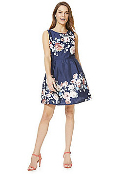 Mela London Rose Print Prom Dress - Blue