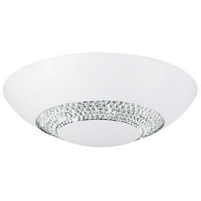 HALO 8 LIGHT LED FLUSH CEILING DIA36CM, MATT WH WITH CLEAR CRYSTAL GLASS CIRCULAR DECOR BAND