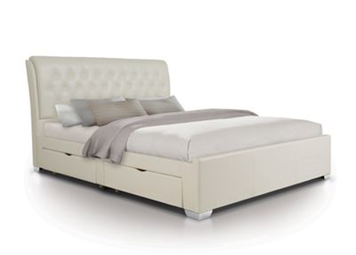 Extra Padded Buttoned 4 Draw Bed Upholstered in Faux Leather - Double - White