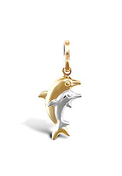 9ct Yellow And White Gold Double Dolphin Pendant
