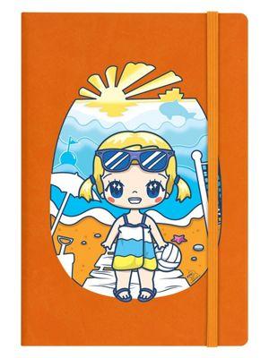 Mio Moon Summer Daze A5 Orange Hard Cover Notebook 14x21cm