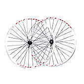 700c Shimano Front and Rear Cassette Wheels White with QR