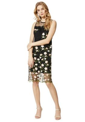 F&F Rose Embroidered Mesh Overlay Midi Dress Black/Multi 12
