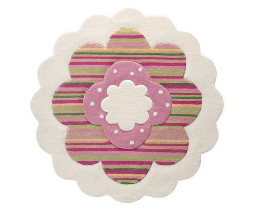 Esprit Flower Shape Beige / Pink Kids Round Rug