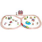 Bigjigs Rail Wooden Junction Train Set with Accessories - 59 Play Pieces