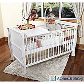 Scarlett Sleigh Cot Bed/Todler Bed & Foam Mattress & Changer & Drawer- White