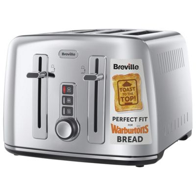 Breville VTT571 4 Slice Toaster for Warburtons Bread - Silver Stainless Steel