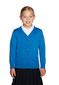 F&F School Girls Ribbed Cardigan with As New Technology - Blue