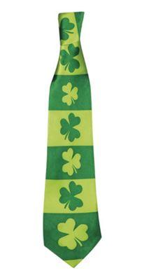 St Patricks Day Green Clover Tie Fancy Dress Accessory