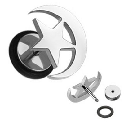 Urban Male Surgical Stainless Steel Fake Ear Stretching Flesh Plug Star & Moon Design