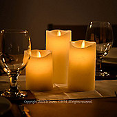 3 x Flickering Flame Remote Control LED Candles - Cream