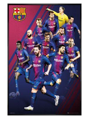 Barcelona FC Gloss Black Framed Players 17-18 Poster 61 x 91.5cm