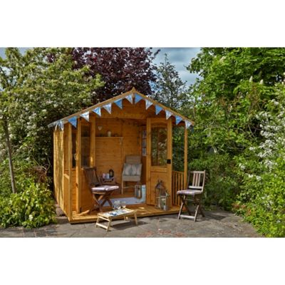 8 x 8 Rock Hollington Summerhouse Garden Wooden Summerhouse 8ft x 8ft (2.44m x 2.44m)