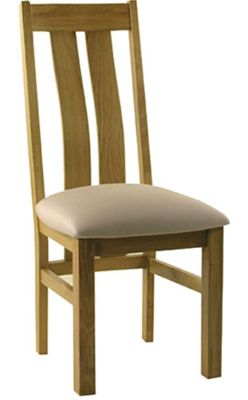 Kelburn Furniture Essentials Curved Back Chair with Fabric Seat in Light Oak Stain and Satin Lacquer