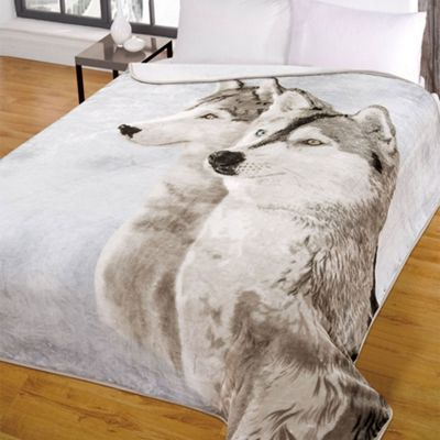 Dreamscene Large Animal Print Husky Mink Faux Fur Throw - 150 x 200 cm