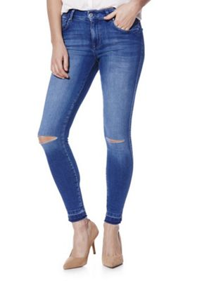 Only Ripped Knee Let-Down Hem Skinny Jeans 30 Waist 32 Leg Mid wash