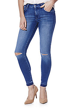 Only Ripped Knee Let-Down Hem Skinny Jeans - Mid wash