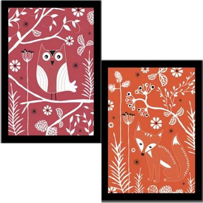 Fox and Owl Framed Art Prints - PACK OF TWO
