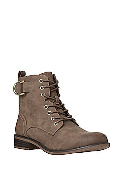F&F Lace-Up Ankle Boots - Brown