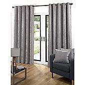 Velvetine Eyelet Curtains 117 x 229cm - Grey
