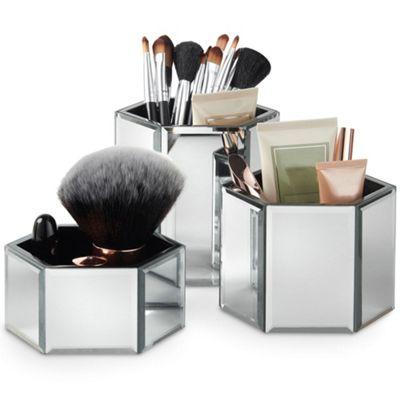 Beautify Mirrored Hexagon Storage Pots - Set of 3