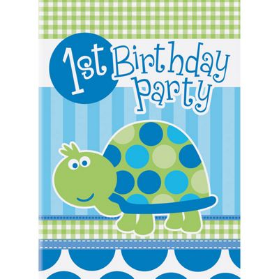 Turtle 1st Birthday Invitation Cards - 8 pack