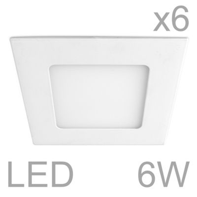 Pack of 6 MiniSun Celica Square 6W LED Downlight Panels, Cool White