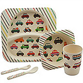 Children's 5 Piece Bamboo Dinner set. Kids Plate, Bowl, Cup, Knife & Fork - Cars Design