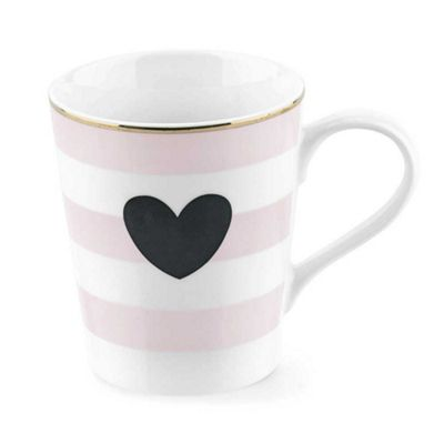 Miss Etoile Mug Ceramic Rose Stripes & Heart