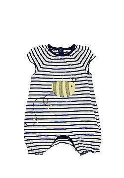 F&F Bee Happy Slogan Romper - Navy/White