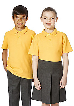 F&F School 2 Pack of Unisex Polo Shirts with As New Technology - Yellow gold