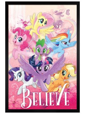 My Little Pony Black Wooden Framed Movie Believe Poster 61 x 91.5cm