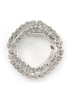 Clear Crystal Square Scarf Clip Brooch In Rhodium Plating - 35mm