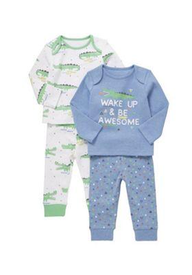 F&F 2 Pack of Slogan and Crocodile Print Pyjamas Multi 12-18 months