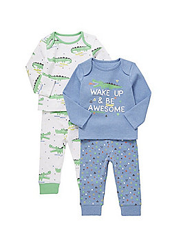 F&F 2 Pack of Slogan and Crocodile Print Pyjamas - Multi