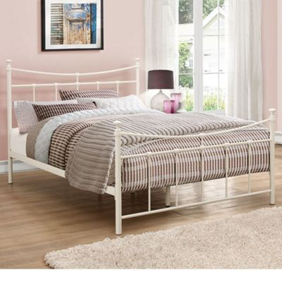 Happy Beds Emily Metal High Foot End Bed - Cream - 4ft Small Double