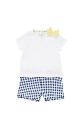 F&F Gingham Short and Bow T-Shirt Set Multi 6-9 months