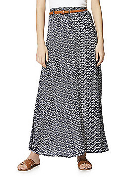 Izabel London Swan Print Maxi Skirt with Belt - Navy