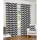 Hamilton McBride Chevron Lined Ring Top Curtains - Black