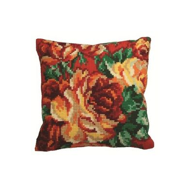 Collection D Art Red Cabbage Rose Cushion Kit